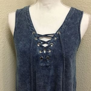 INC Front Lace Sleeveless Soft Denim Shirt